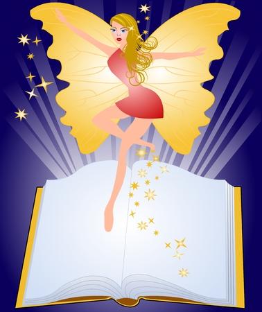 Magic book and fairy Vector