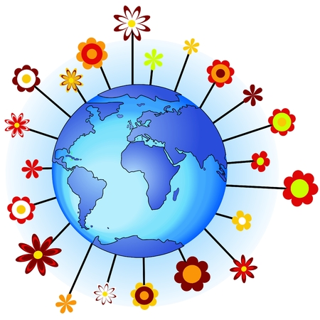 Flower earth concept of ecology, peace Vector