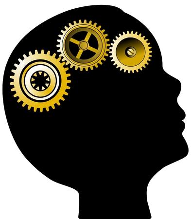cogs: Capo silhouette e attrezzi concetto di salute mentale