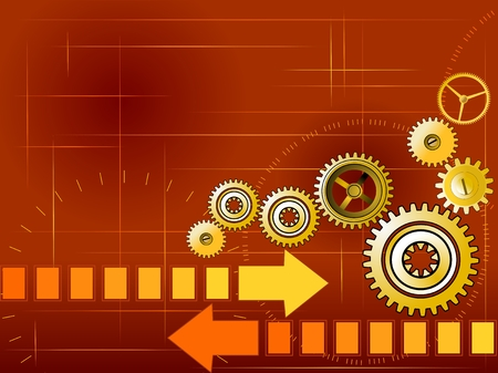 clock gears: Red business background with golden gears