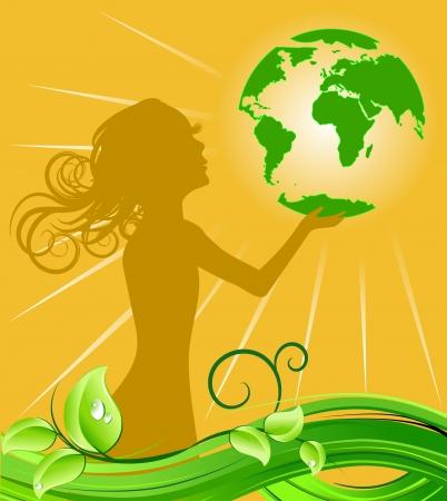 vegetal: Girl holding green earth; ecology concept Illustration