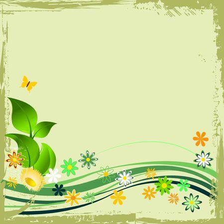 Green grunge floral frame Stock Vector - 5492586