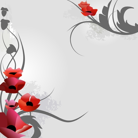Poppies over grey illustration Vector