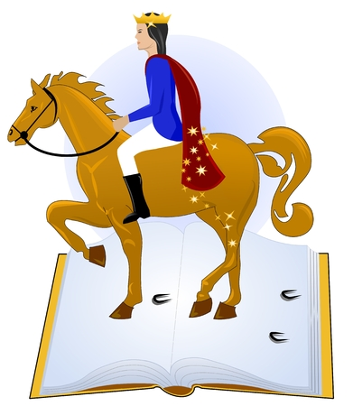 Tales book, prince riding his horse Vector