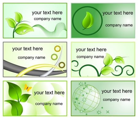 Ecology logos and bussines cards templates Vector