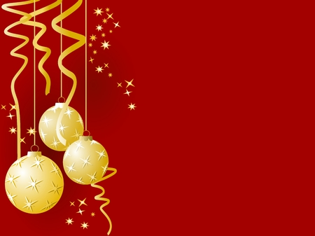 Golden Christmas ornaments over red