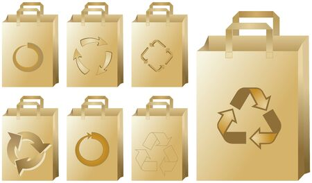 Set of paper bags with recycling symbols Vector