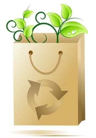 Eco shopping bag; concept of ecofriendly and bio shopping Vector
