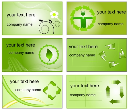 Recycling logos and bussines cards templates Vector