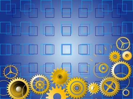 machinery space: Golden gears over blue background