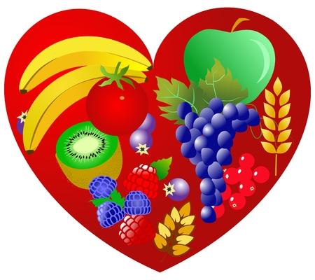 Health for heart vegetarian food Vector