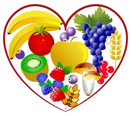 clean food: Bio food, healthy heart