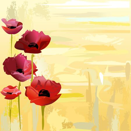 Painted poppies over yellow background Vector