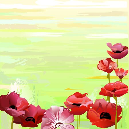 horticultural: Red flowers over green background Illustration