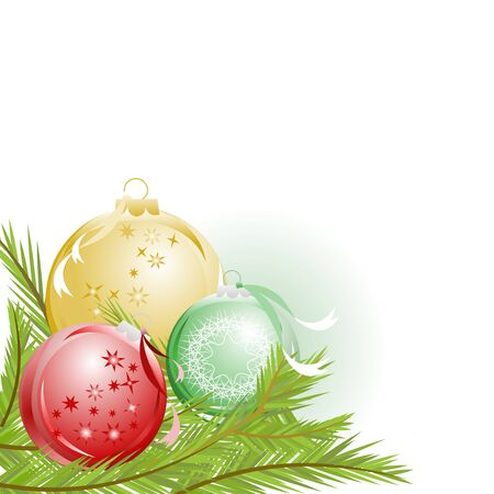 Christmas ornaments and pine twigs Vector