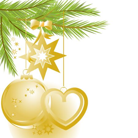Golden Christmas ornaments and pine tree Vector