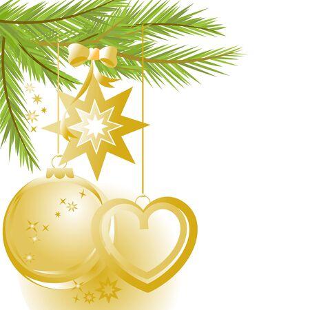 Golden Weihnachten Ornamenten und Pine-Struktur