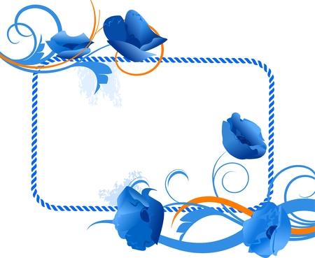 esquineros de flores: Marco floral azul