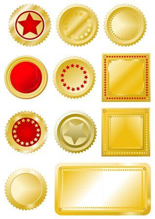 seal stamper: Golden-red signs and labels set