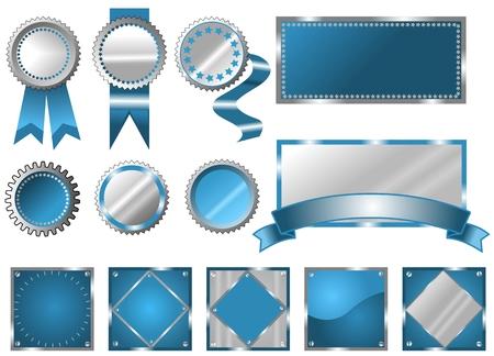 stamper: Metallic blue seals, signs and labels Illustration