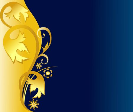 Golden festive floral ornament over blue copy space Stock Vector - 6089388