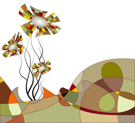 Abstract landscape with flowers