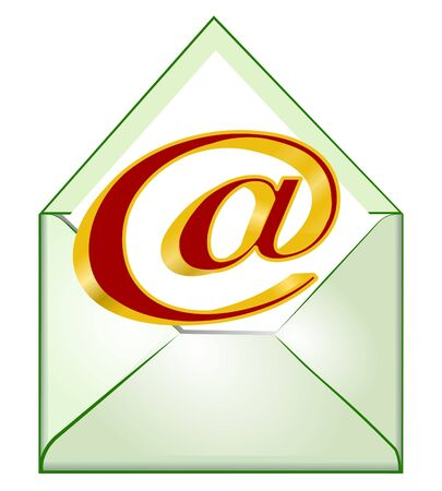 E-mail symbol, opened envelope with 3d at red golden sign  Vector