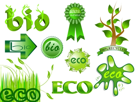Bio and eco icons and labels set 2 Vector