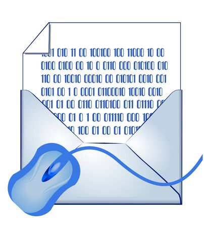 coded: E-mail concept: opened envelope, binary coded letter and mouse Illustration