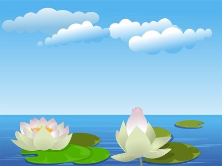 Flores de loto en el lago Ilustración de vector