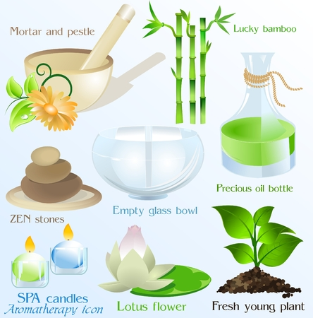 Spa icons objects vector set  Vector