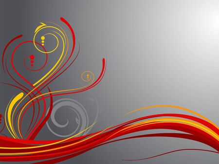 red swirl: Bright abstract swirls over grey background  Illustration