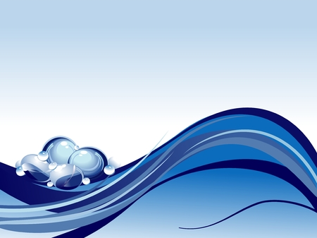 Blue water background with bubbles Stock Vector - 6327626
