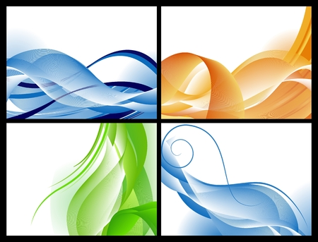 green smoke: Abstract waves background set