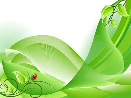 Abstract fresh green background with flower bud Stock Vector - 6384967