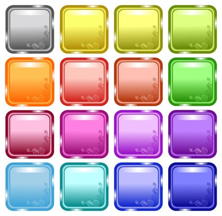 Glossy decorated web buttons, stickers, announcement labels Vector