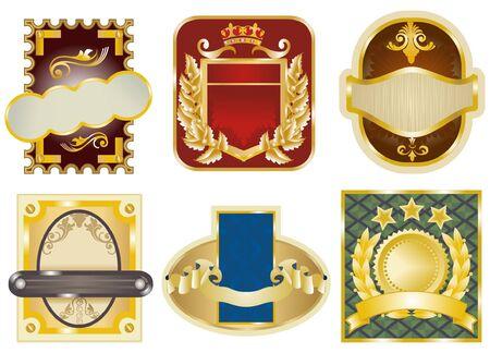 Gold framed labels Vector