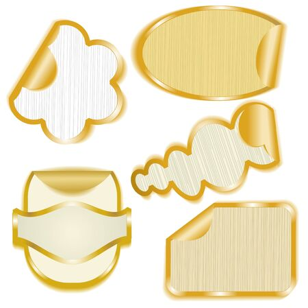 Gold framed paper stickers with peeling corners Vector