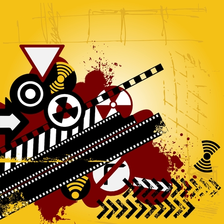 Urban background with road signs and blood stains Vector