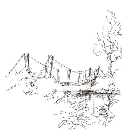 Rural bridge over river landscape Vector