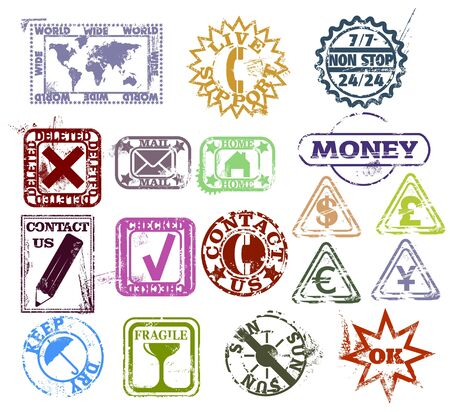 Grunge rubber stamps: customer support and contact, internet, money and package pictogram  Vector