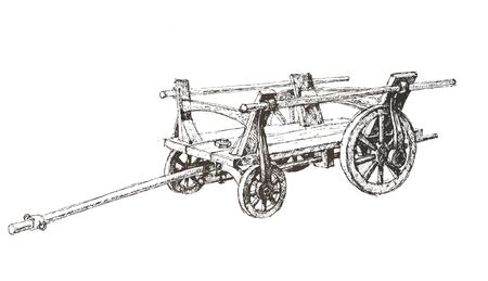 pastoral: Wooden empty cart sketch isolated over white Illustration