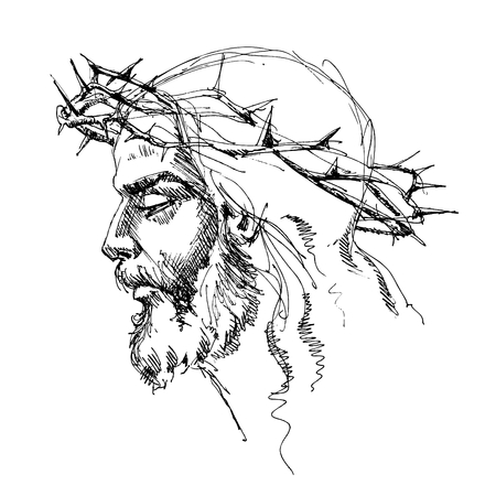 crucifixion: Jesus Christ with crown of thorns Illustration