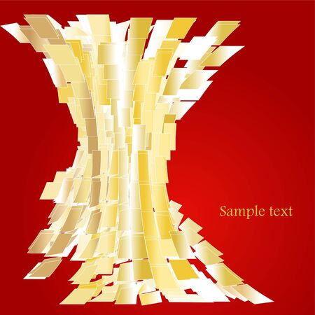 Abstract golden squares over red background Stock Vector - 6564736
