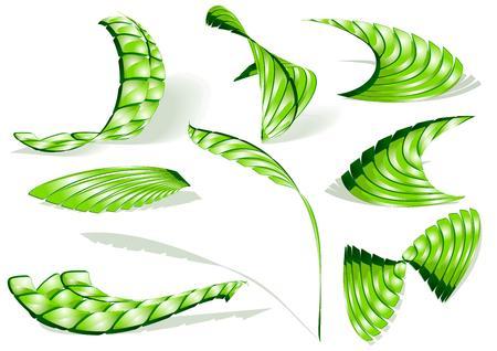 splice: Green shiny 3d abstract icons