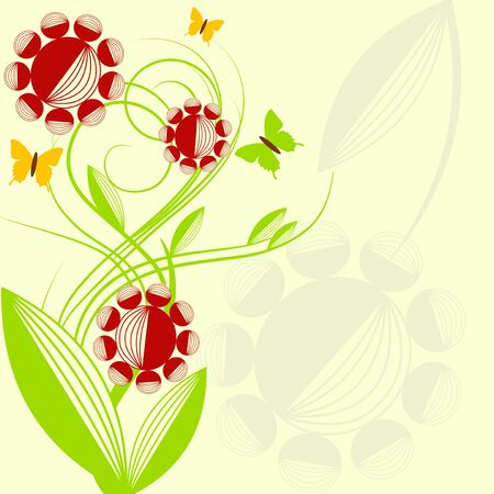 Spring floral design with butterflies Stock Vector - 6601735