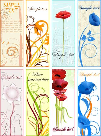Vertical floral bookmarks or banners Vector