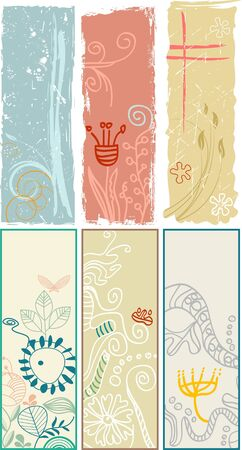 Vertical floral banners and bookmarks Vector