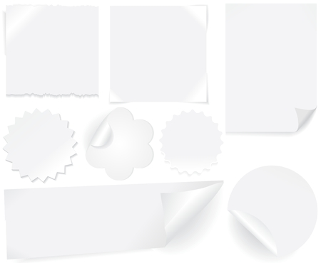 White paper blank stickers and labels Vector