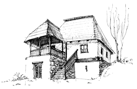 Old rural house sketch Vector